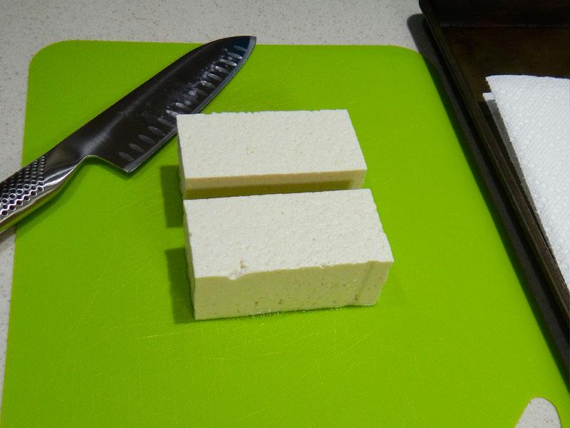 Pressing Tofu: Cutting, Step 1