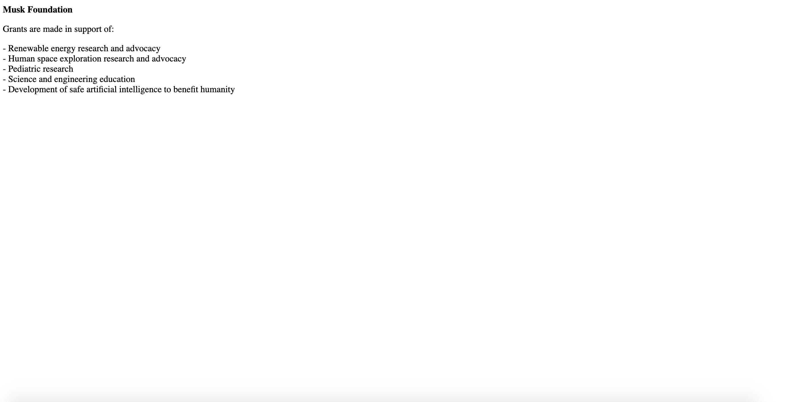 screenshot of the Musk foundation website