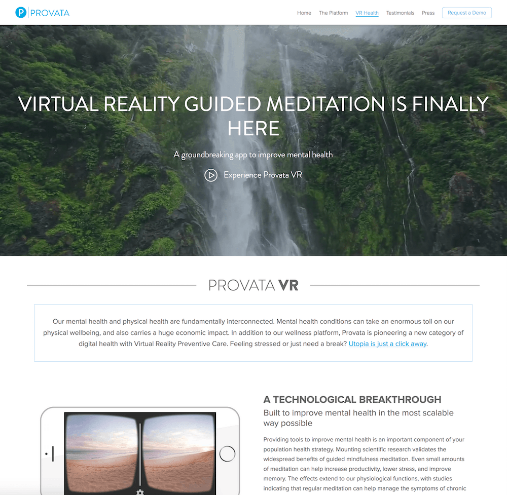 Screenshot of the Provata Health marketing web site VR Health page