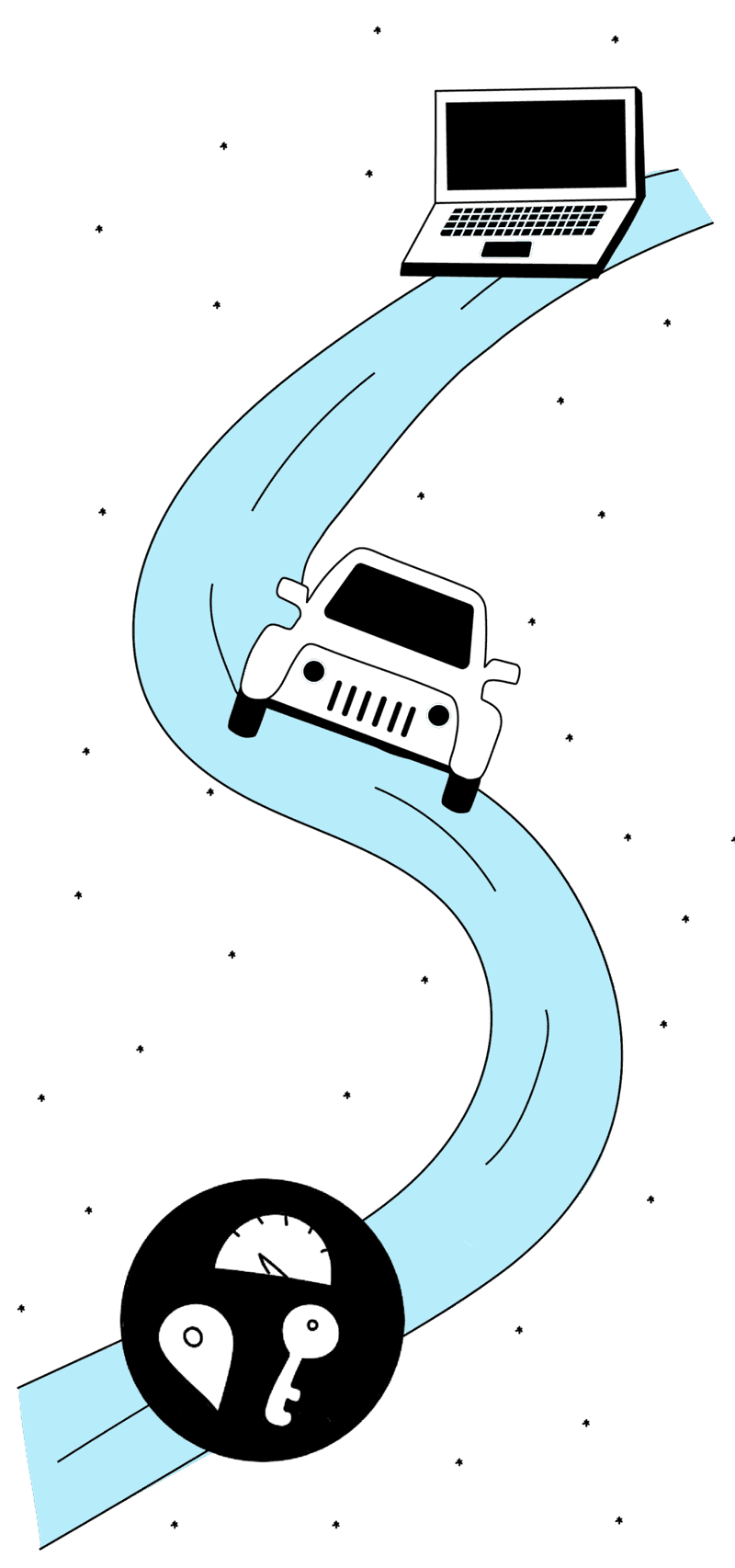 An illustration of a computer, car, and a circle with a location pin, odometer, and key on a road