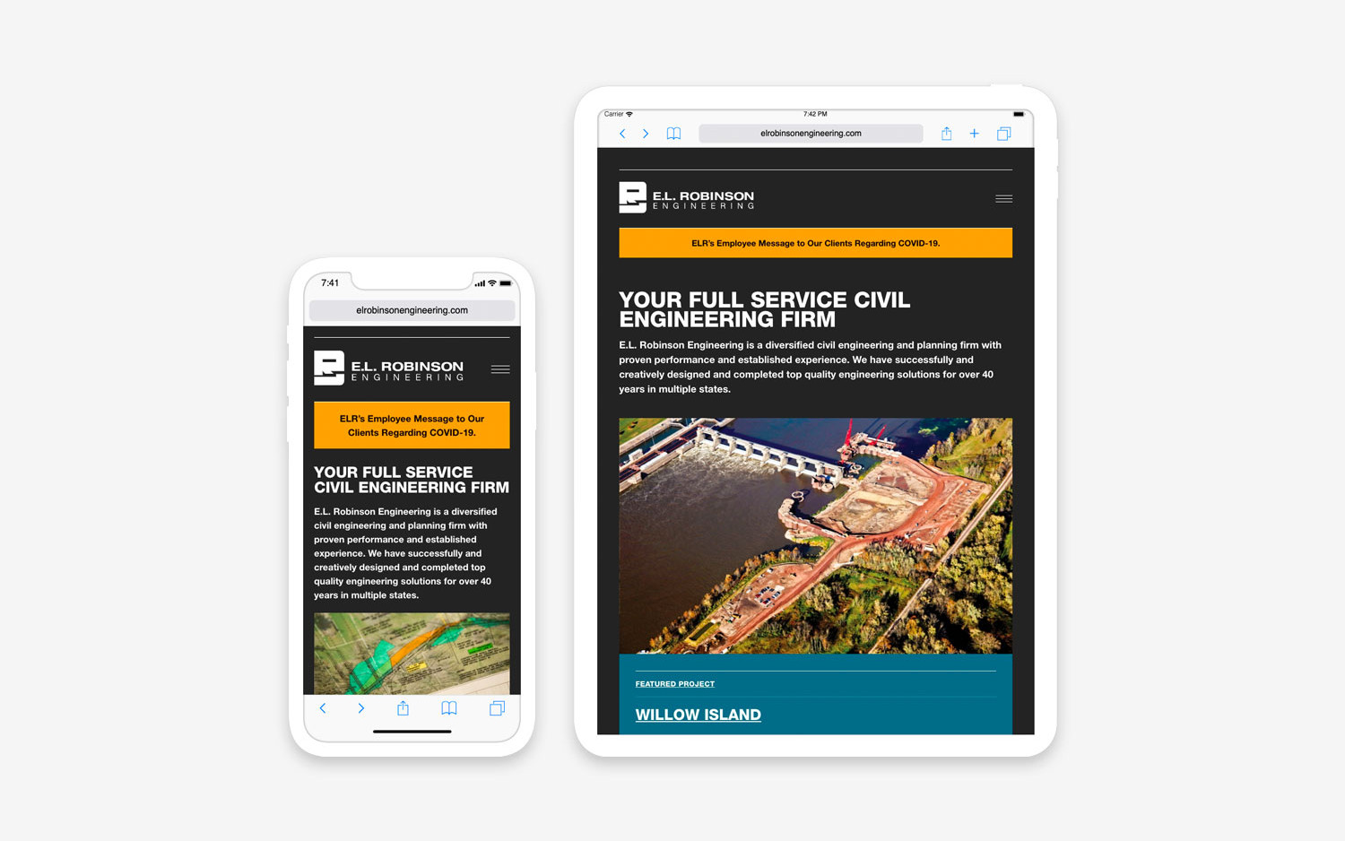 E.L. Robinson Engineering - Website mobile/tablet view