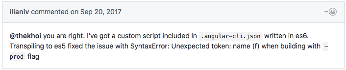 GitHub issue comment that gave me the idea to look for JavaScript code written in ES6.
