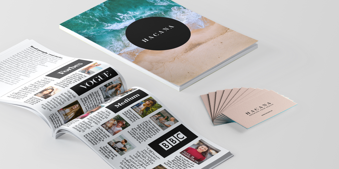 A brochure designed by UKNO for CBD startup Hacana