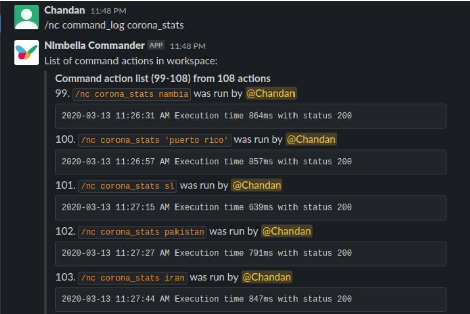 corona stats command log in slack