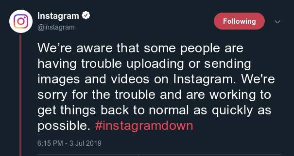 Instagram Downtime