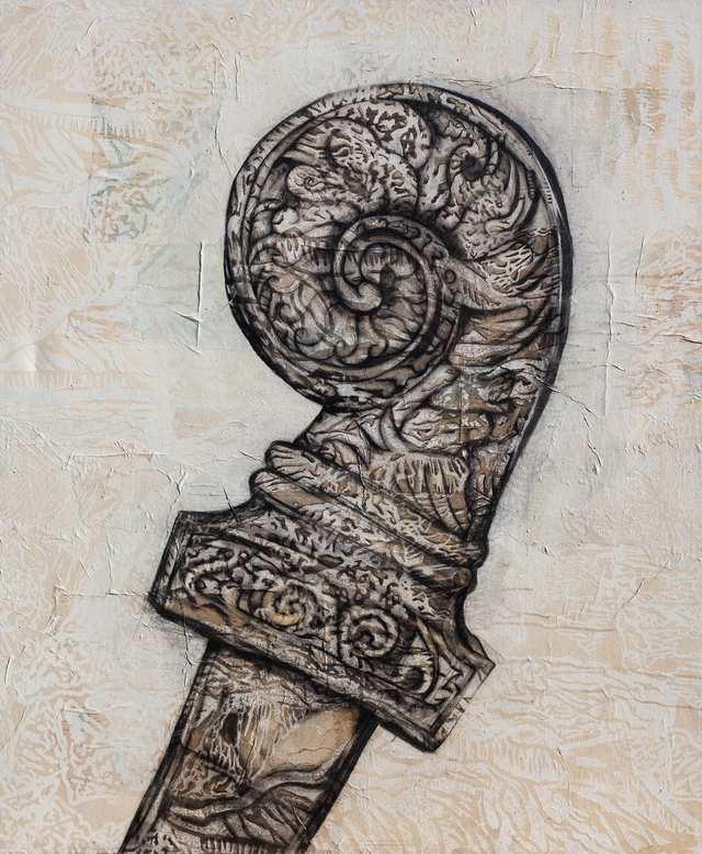 Kris Bali 1, charcoal woodblock print on canvas