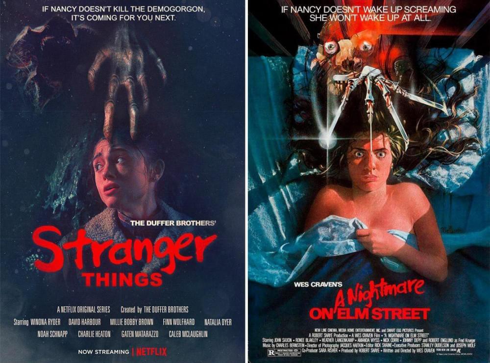 Постеры ксериалу «Очень странные дела» копируют культовые афиши фильмов ужасов разныхлет. Справа — афиша фильма «Кошмар наулице Вязов», 1984год