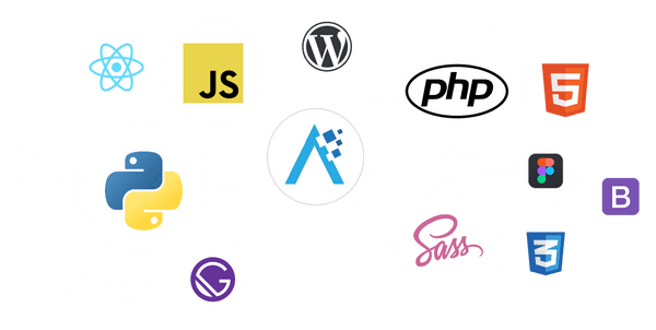 Logos of various programming languages and frameworks we use