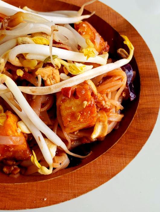 Vegan Pad Thai with Crispy Tofu