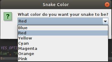 Color selection menu
