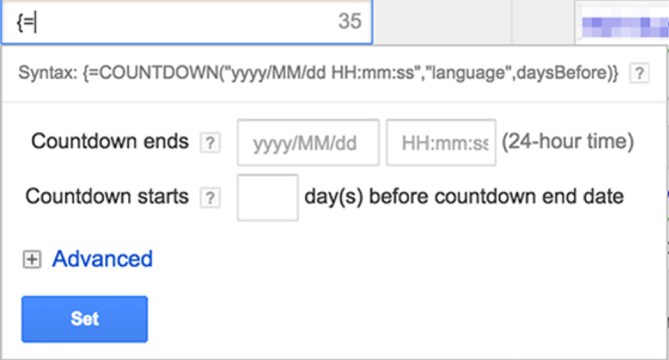 An example of a google ad which contains the countdown function