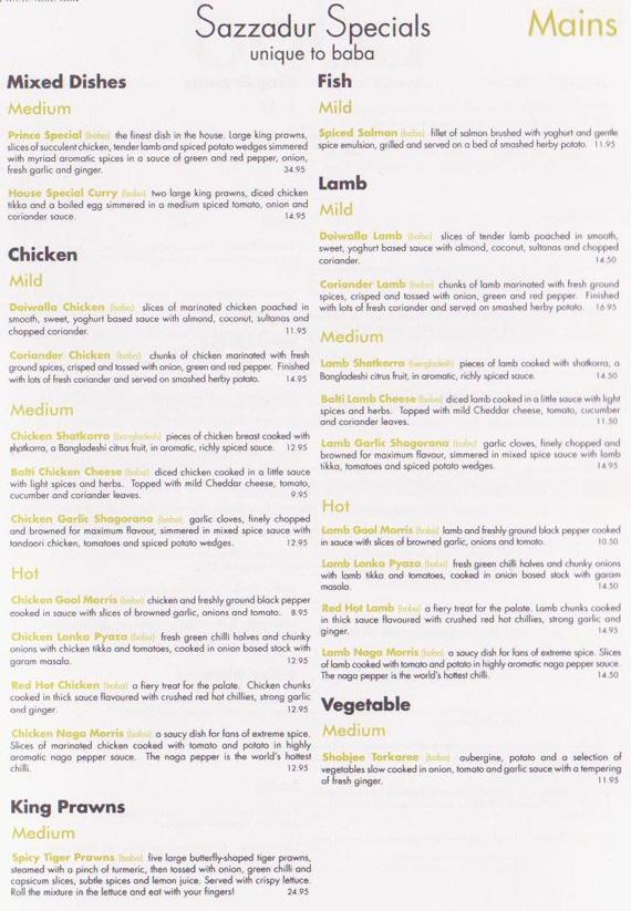 baba truro takeaway menu