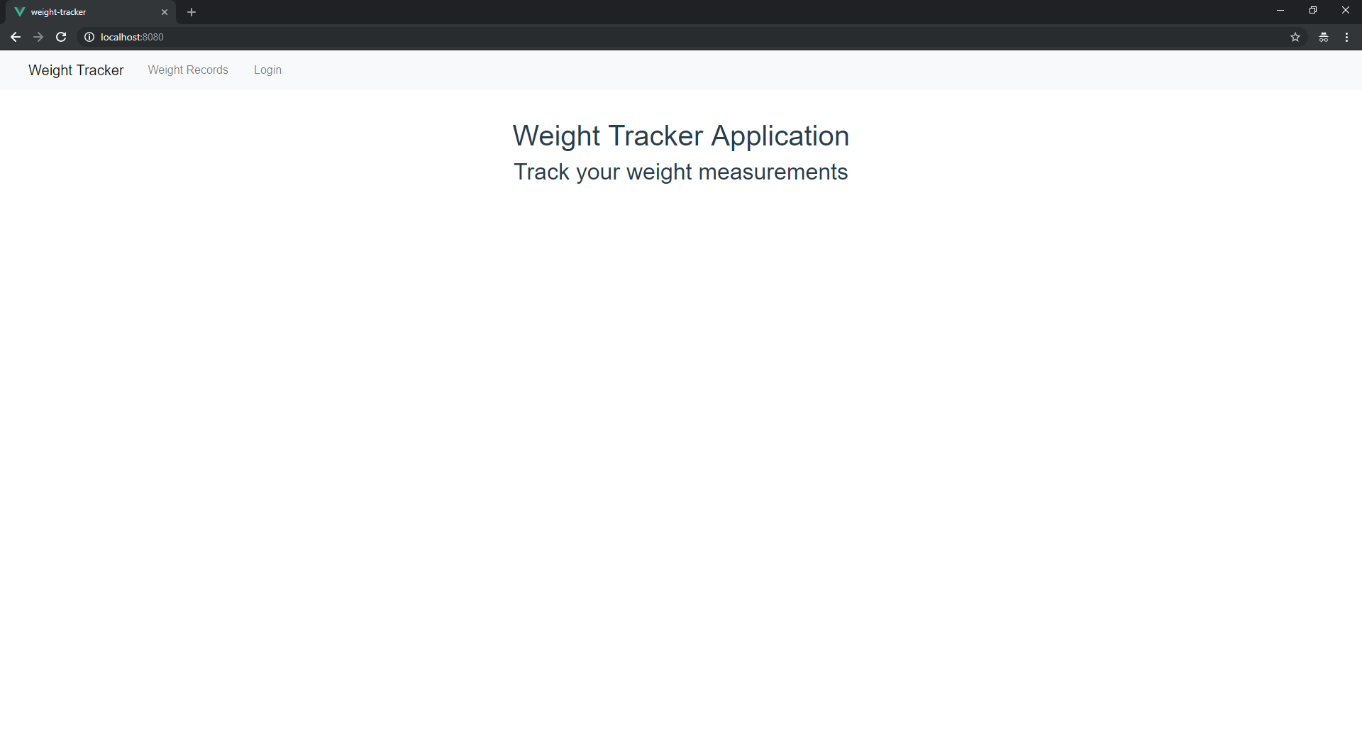 Weight tracker home page