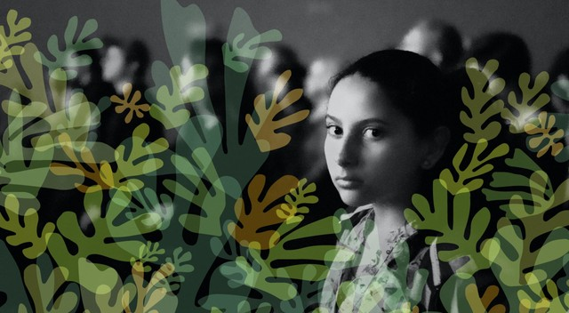 Environmental human rights illustration showing a young girl among leaves