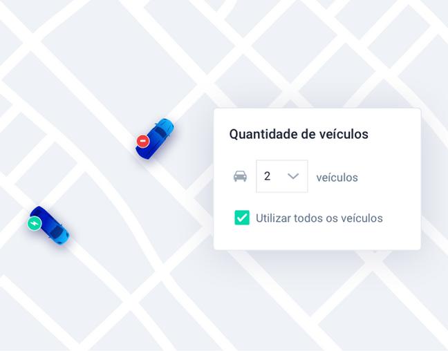 Painel da Cobli mostrando a opção de quantos veículos o usuário deseja utilizar.