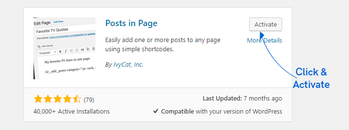 instructions to install posts in page extension