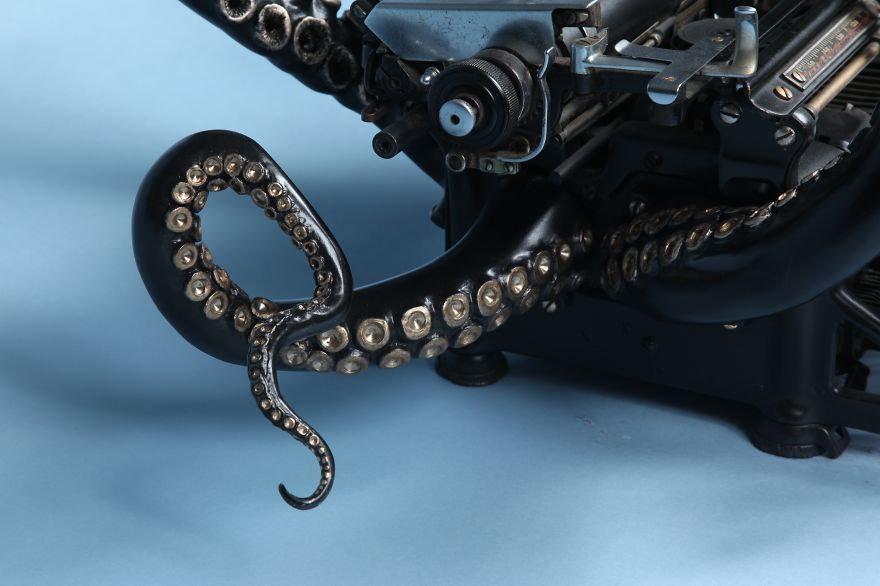 sculpture of a typewriter turned into an octopus