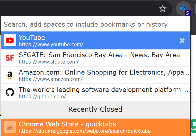 Quick Tabs search interface