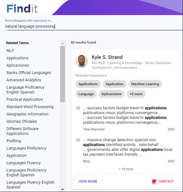 IDB FindIt results