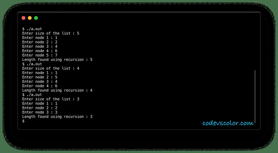 c program find length of list