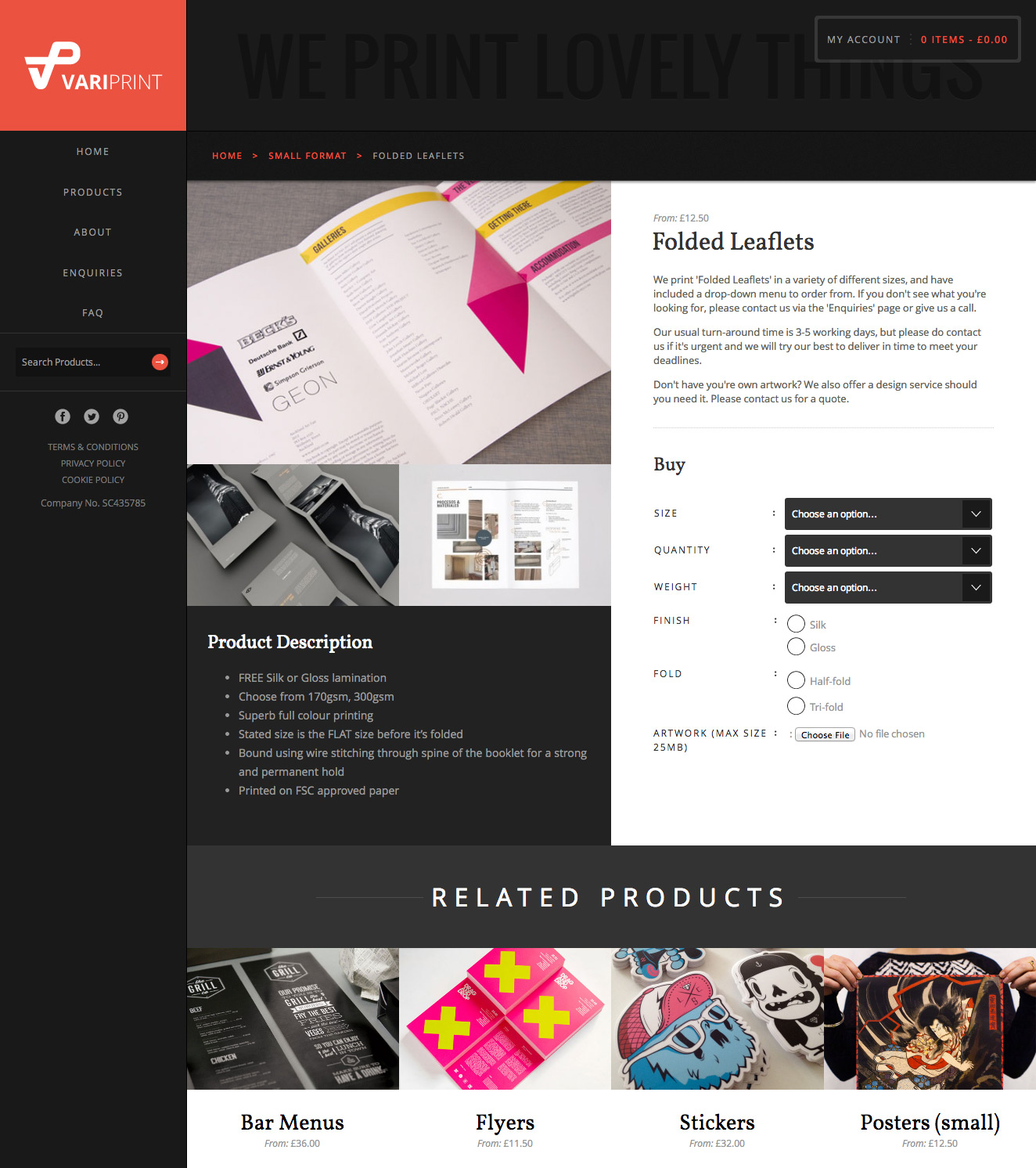 VariPrint single product page showing product information and options such as size, finish etc.