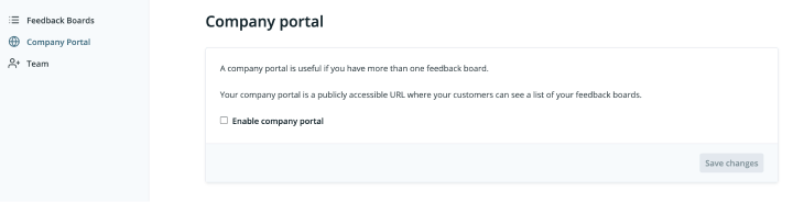 Screenshot of enabling your Feature Upvote company portal