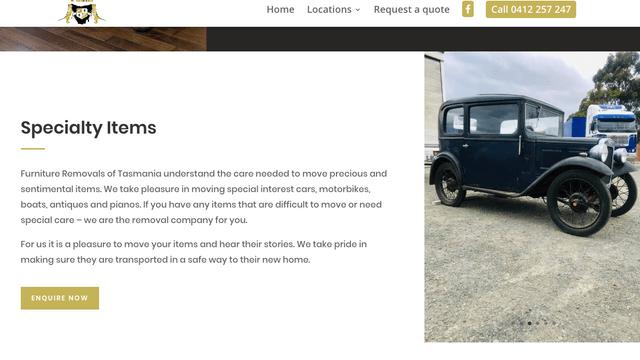 Furniture removals of Tasmania website screenshot