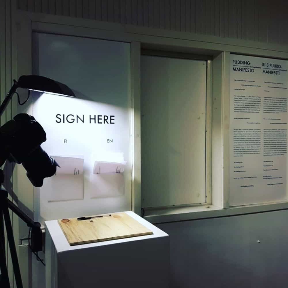 Installation view, Maifesto and Pledge, Pudding Manifesto for Togetherness, 2016