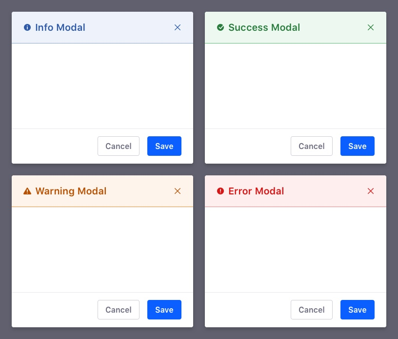 info, success, warning, error modal configurations in headers