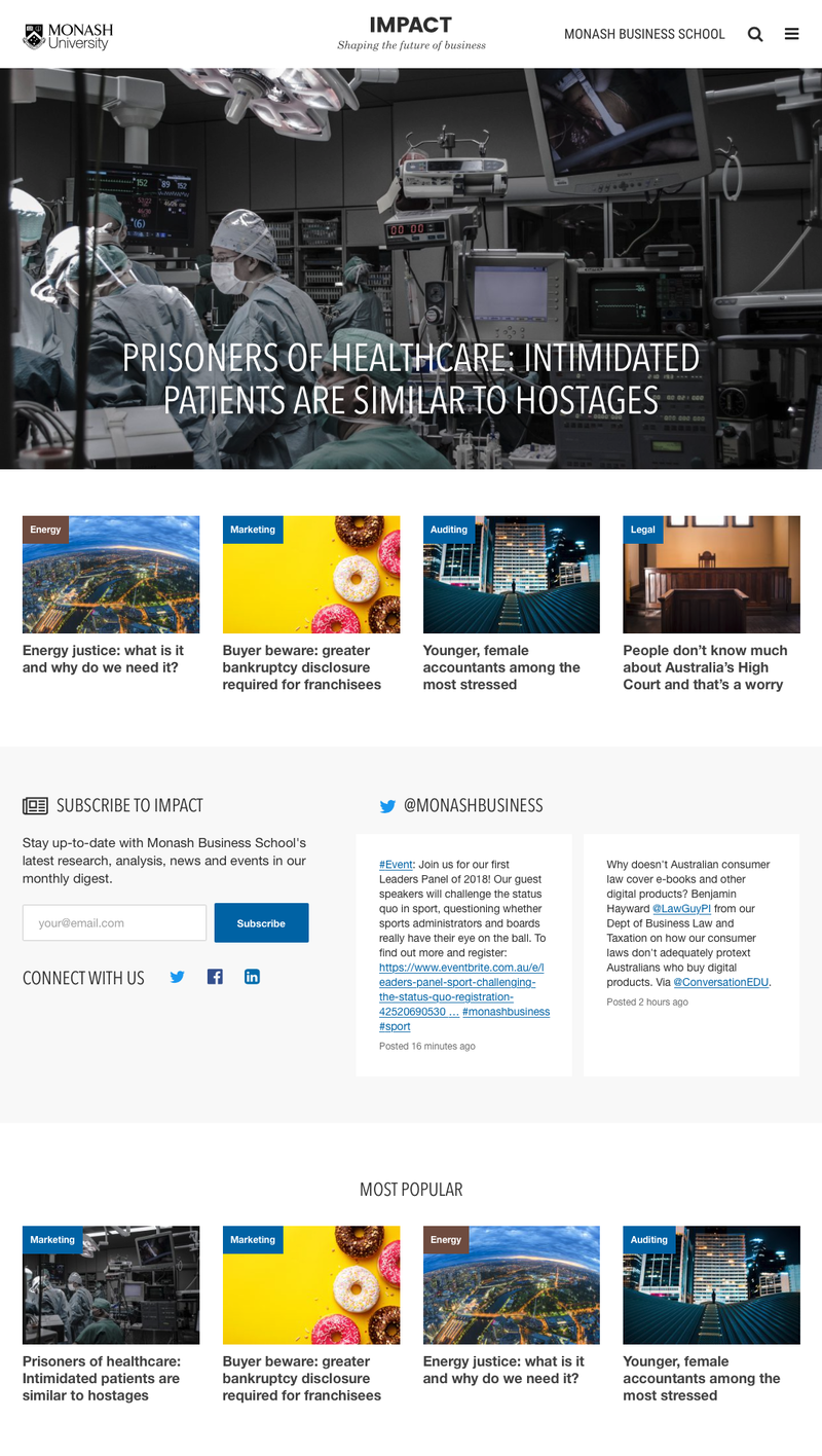 Impact home page