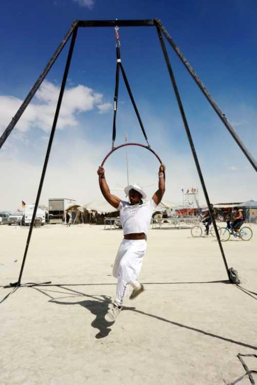 Burning Man Aerial Yoga