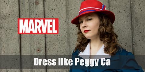 In Agent Carter, Peggy's iconic outfit is the one that she wears a red hat, white blouse, blue suit jacket and pencil skirt, and black 40s high heels.