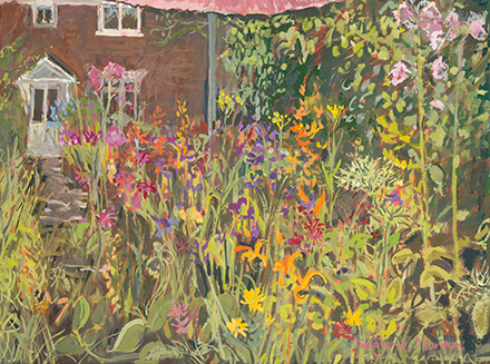 Garden View gouache painting