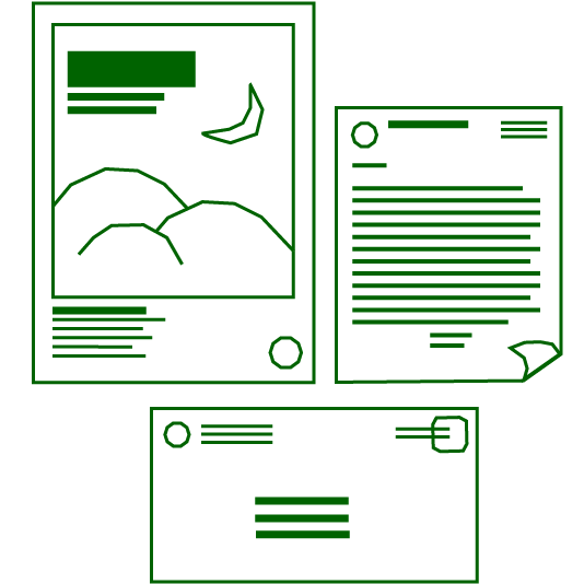 layout of poster, letter, and envelope icons