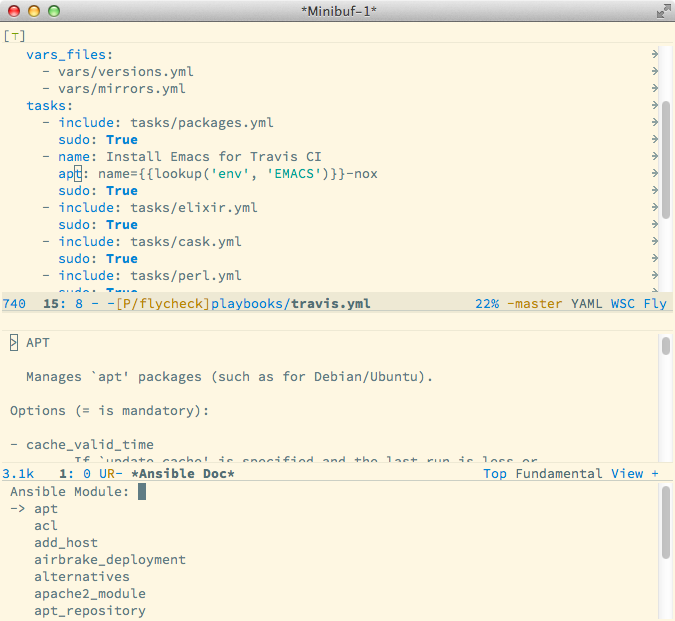 Documentation of ansible apt module in Emacs buffer