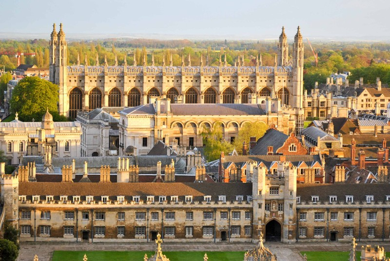 An aerial view of King's College Chapel at the University of Cambridge