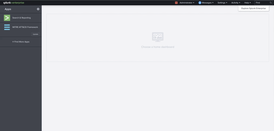 The Splunk homepage.
