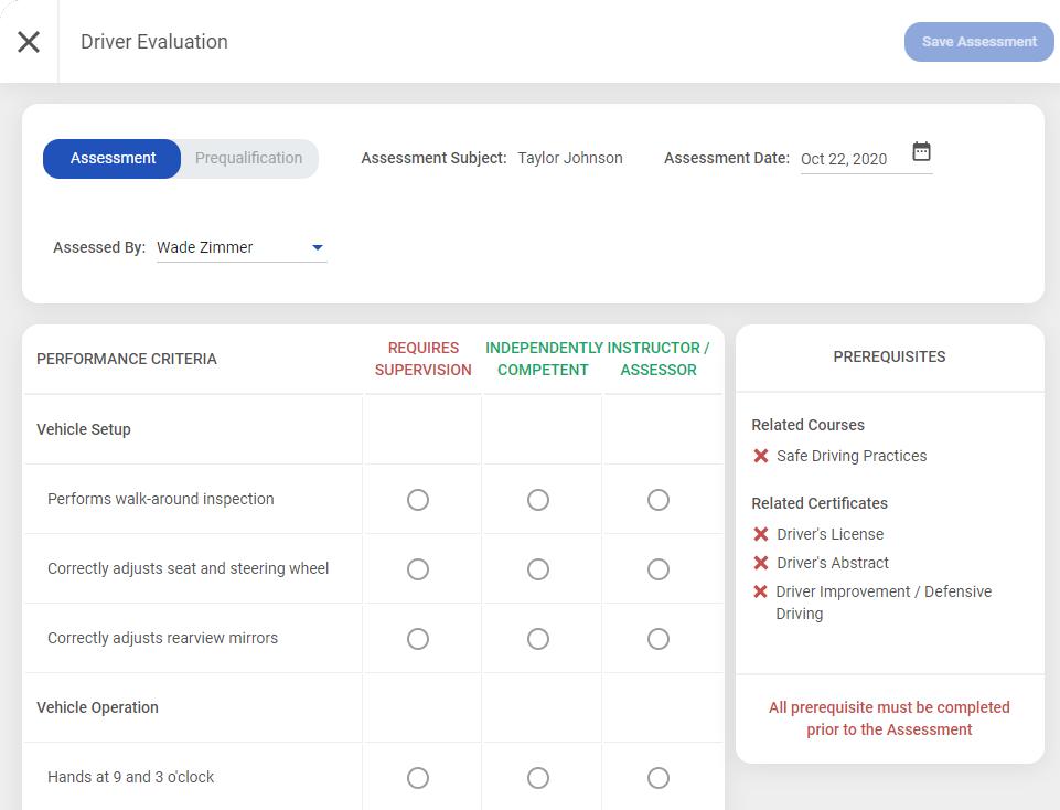 Driver Assessment Screenshot