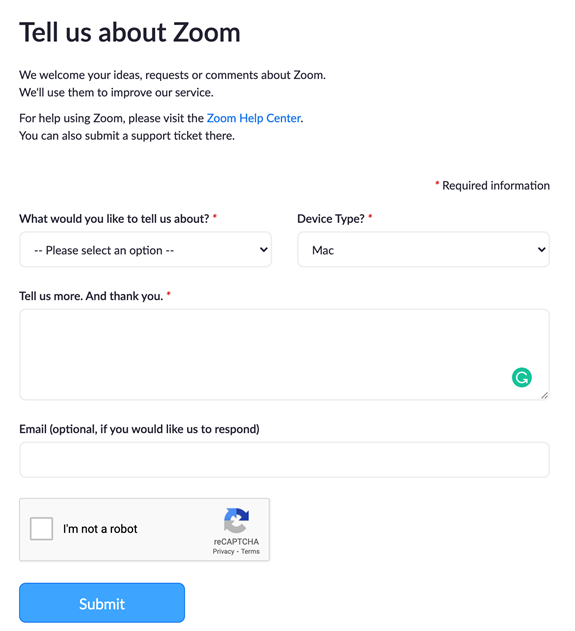 Example of a customer survey from Zoom.