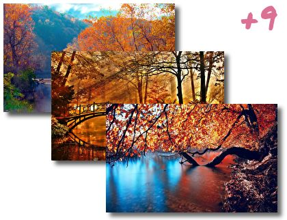 Autumn Leaning In The River theme pack