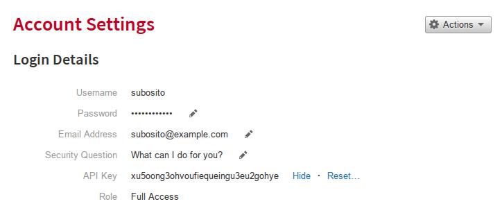 Rackspace Account Settings