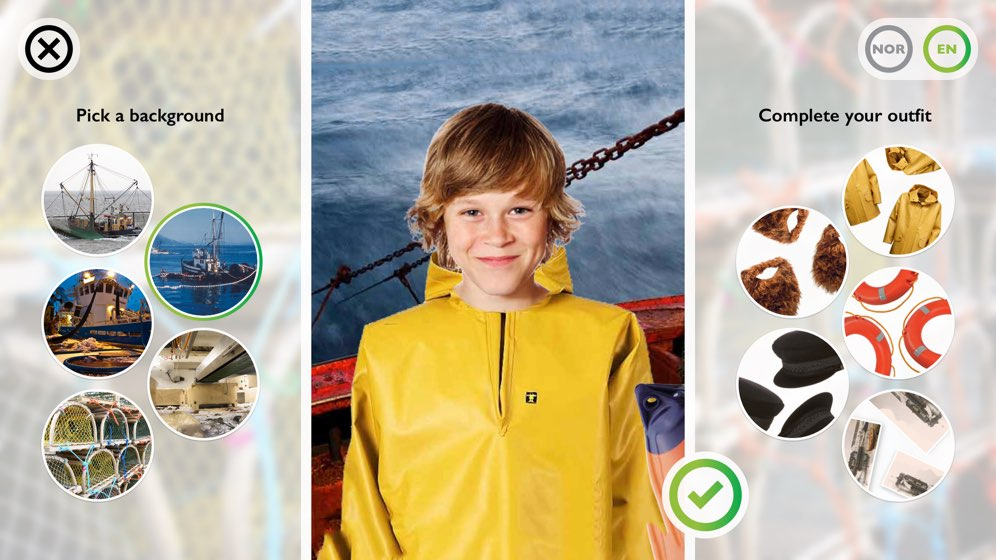 Exhibit screen to overlay fisherman clothes and items on image
