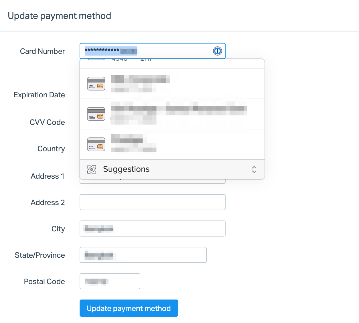 1Password Credit Card Example