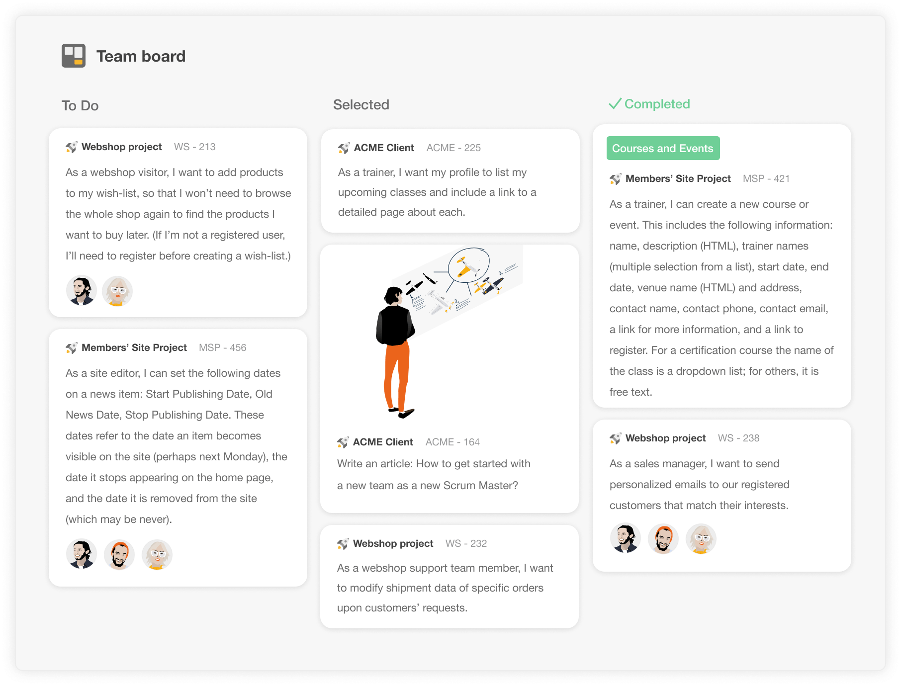 Combine multiple projects into one team board