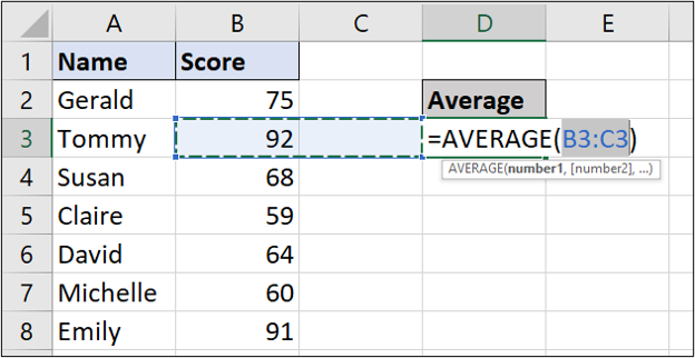 A simple Excel spreadsheet containing data for student names and test scores. In this example, the AVERAGE function has been entered and has guessed, incorrectly, which cells to use.