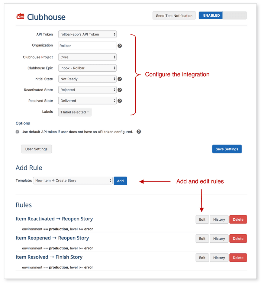 Rollbar setttings page for Clubhouse integration