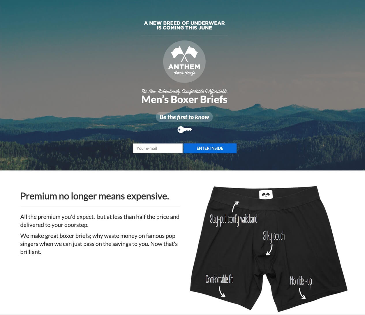 Comfortable Boxers landing page.