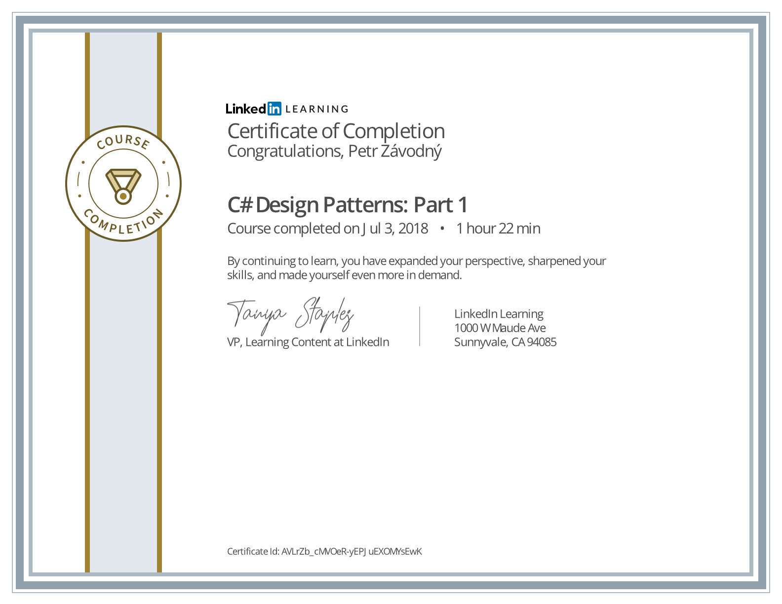 certificate C# Design Patterns