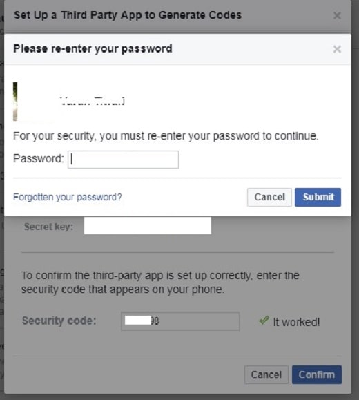 Facebook: Set up a third-party app to generate codes (confirm password)