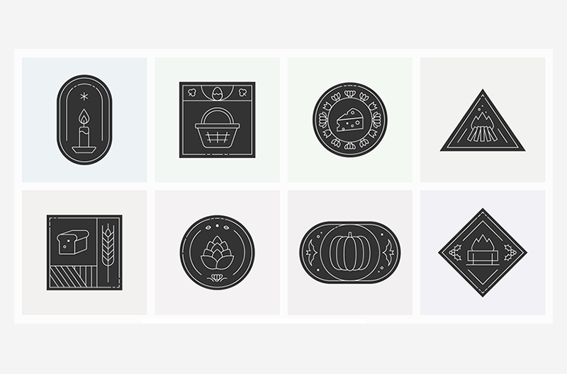 Icons representing the various different sabbats and esbats throughout the year.
